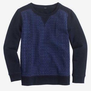 J. Crew | Eyelet Sweatshirt Pullover Navy XS